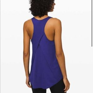 NWT Essential Tank Pleated Storm Blue